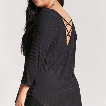 Plus Size Ribbed Crisscross Top
