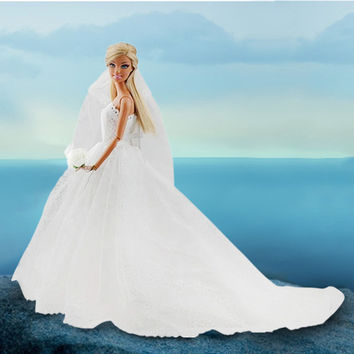 Fashion White Princess Evening Party Clothes Wears Long Dress Outfit Set for Barbie Doll with Veil Accessories Best Toys For Kid
