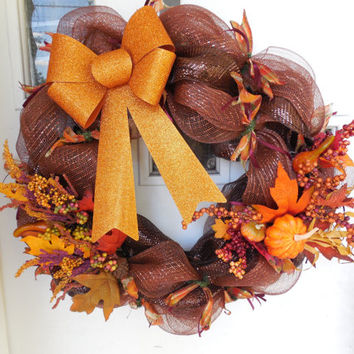 Fall Themed Orange and Brown Deco Mesh Wreath With Leaves,Acorns, & Pumpkins
