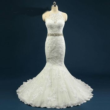 Tulle Lace Mermaid Wedding Dress With Beaded Sash Lace Applique