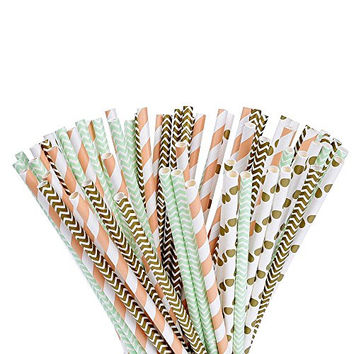 eBoot 100 Pieces Biodegradable Paper Straws for Birthdays, Weddings, Baby Showers, Celebrations and Parties (Gold, Green and Orange)