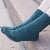 Hand knit women green Socks alpaca wool rustic woodland emerald