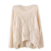 Hee Grand Womens Winter Hollow Argyle Long Sleeve Pullover Sweater