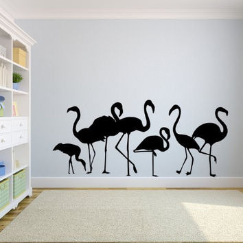 Tropical Flamingo Family Silhouette Vinyl Wall Decal Sticker Graphic