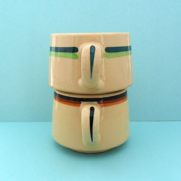 Striped Restaurant Ware Cups Mugs Wallace China Desert Ware Shenango Inca Ware 1930s 1940s Brown Green Diner Coffee Tea Cup