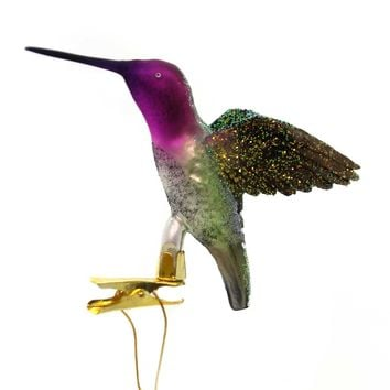 Holiday Ornaments HUMMINGBIRD CLIP-ON Glass Christmas Nb0589 Purple