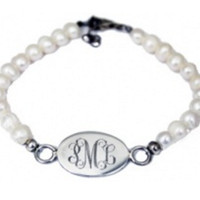 Monogrammed Pearl Bracelet with Sterling Charm | Marley Lilly