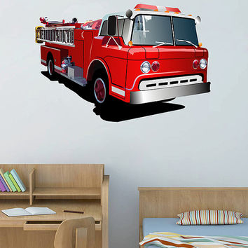 kcik74 Full Color Wall decal Fire Truck Transport bedroom children's room