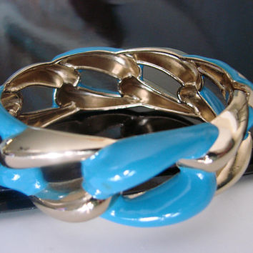SALE Vintage Light Gold Tone Blue Enamel Clamper Bangle Bracelet * Jewelry * Jewellery