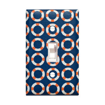 SALE Nautical Light Switch Plate Cover / Bathroom Kids Room Nursery Decor / Navy Blue Orange / Shore Thing By Michael Miller