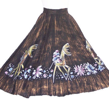 1950s Hand Painted Mexican Skirt Vintage Fiesta Circle Skirt Donkeys and Flowers S