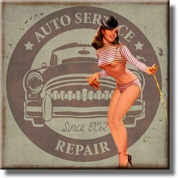 Auto Service Repair Pin Up Girl Picture on Stretched Canvas, Wall Art Décor, Ready to Hang