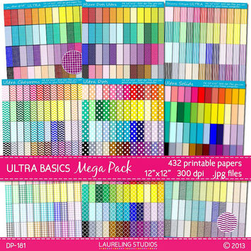 432 basic digital papers polka paper stripe chevron quatrefoil grid gingham commercial use printable, item dp181
