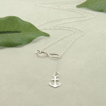 Silver Anchor & Infinity Lariat, Anchor Necklace, Sterling Silver Anchor, Silver Anchor Necklace, Sterling Silver Anchor Pendant