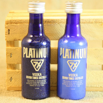 Salt & Pepper Shakers Upcycled from Platinum 7X Vodka Mini Liquor Bottles, Mini Liquor Bottle Shaker Set