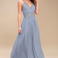 This is Love Slate Blue Lace Maxi Dress