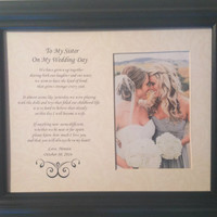 To My Sister on My Wedding Day Personalized Custom Gift Maid Matron Honor