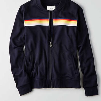 AEO Chest Stripe Track Jacket , Navy