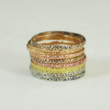 Bohemian Stacking Rings, BoHo Rings, Tribal Rings, ZigZag Stacking Rings, Rustic Ring, Sterling Ring, Brass Ring, Bronze Ring, Gold Ring-A19