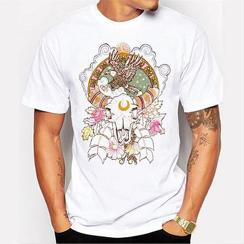 Summer Totem design T Shirt for Men Hip hop short Sleeve O-neck Tale Print  clothing