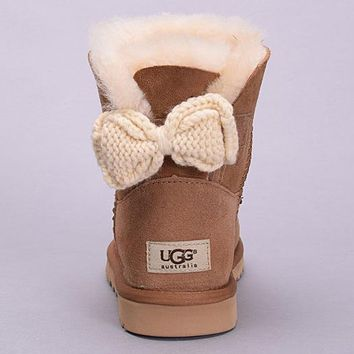 UGG Fashion Women Bow Fur Leather Wool Snow Boots Short Boots Shoes1