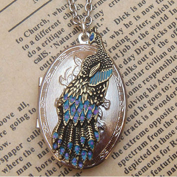 Steampunk Peacock Locket Necklace Vintage Style by sallydesign