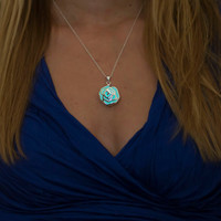 Glowing Rose - Glow Necklace - Glow in the Dark Necklace - Silver Necklace - Glowing in the dark Rose - Silver Rose Pendant