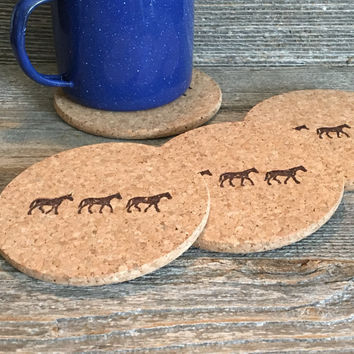 Horse Coasters, Absorbent Cork Coasters, Natural Coasters, Equestrian Gift, Horse Housewarming Gift, Hostess Gift, Wholesale - Item# 003