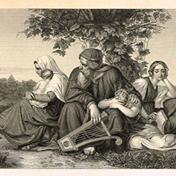 Miniature Religious Print - THE MOURNING JEWS IN EXILE - Engraving - c1850