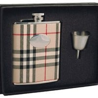 "Visol ""Gabriella"" Plaid Wrapped Stainless Steel 6oz Liquor Hip Flask Gift Set"