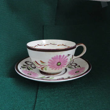 Gray's Pottery Hand Painted Pink Flower Gold Lustre Cup and Saucer, Vintage British Pottery