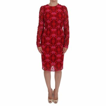 Dolce & Gabbana Red Floral Ricamo Sheath Dress