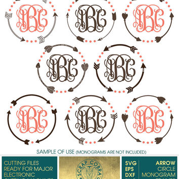 8 Tribal Arrow Circle Monogram Frames - SVG, eps, DXF, PNG - Cut Files for Silhouette, Cricuit, other electronic cutting machines - cv-129