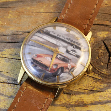 Vintage Handpainted watch with classic sport car on the dial gold plated russian watch ussr cccp