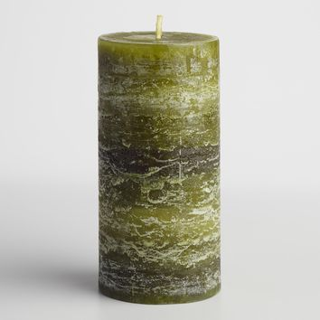 "3"" x 6"" Green Cedar Pine Pillar Candle"