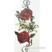 2016 New Design Rose 21x10cm Cool Waterproof Temporary Tattoo Stickers