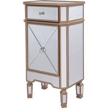 "Contempo 18""x12""x32"" Mirrored Drawer & Door Cabinet, Gold"
