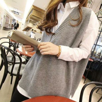 2016 Fashion Spring Autumn Plus Size Md-long Sleeveless V-neck Loose Pullover Women Vest Sweater Female Jersey Mujer ZL2181