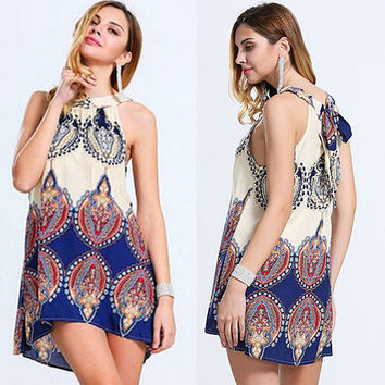 Lady Ethnic Style Sleeveless Short Beach Sundress Mini Flower Print Loose Dress