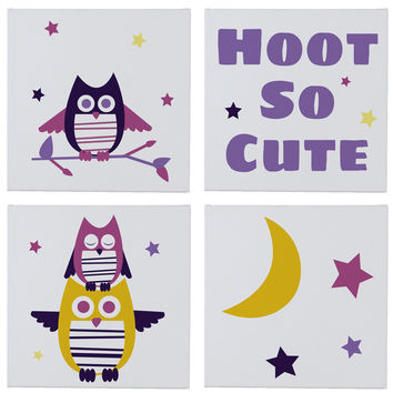 Hoot So Cute Wall Canvases - Set of 4