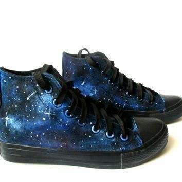 custom handpainted galaxy sneakers personalized shoes galaxy converse galaxy vans
