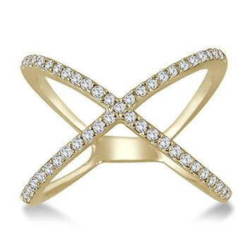 AGS Certified 1/2 Carat TW Diamond Criss Cross X Ring in 10K Yellow Gold
