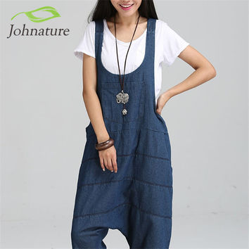 2016 Spring New Denim Jumpsuits Pocket Rompers Stripped Loose Plus Size  Women Fashion Casual Denim Overalls Harlan Jumpsuits