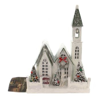Christmas VINTAGE PUTZ CHRISTMAS CHURCH MEDIUM Paper Lighted Lc4589