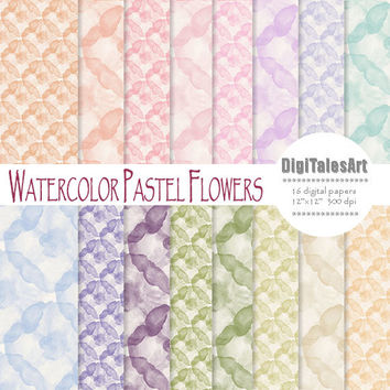 "Floral digital paper ""Watercolor Pastel Flowers"" flower digital clip art papers in pink, purle, green, blue, watercolor background"