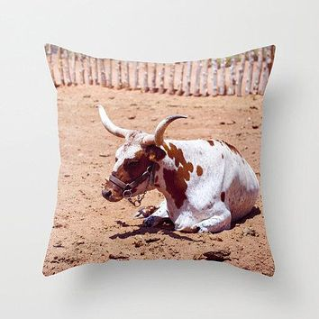 Longhorn Steer Throw Pillow Cover- 5 Sizes
