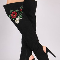 Qupid Embroidered Floral Suede Over-The-Knee Boots