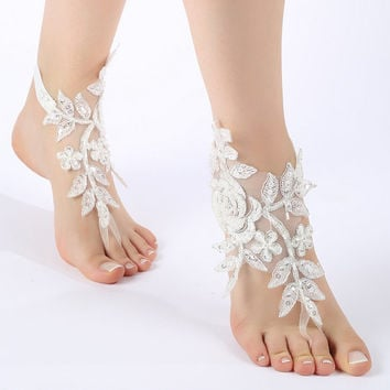 Free Ship ivory silver frame  flexible ankle sandals,  laceBarefoot Sandals, french lace, Beach wedding barefoot sandals