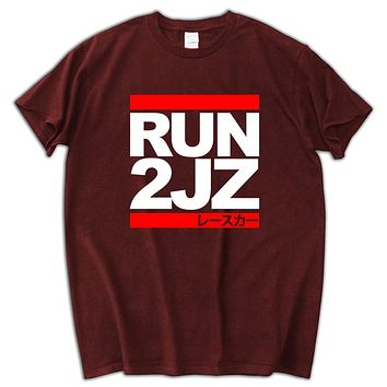 Run 2JZ Summer o-neck Shirts Tops Cotton Tees T-Shirt Men Summer
