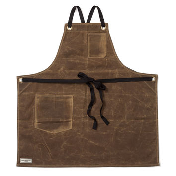 WORKMAN BIB APRON, BROWN WAXED CANVAS